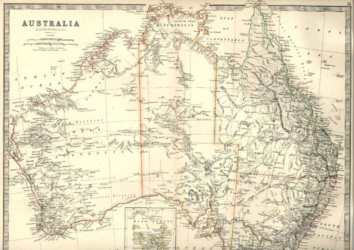 antique map of australia by keith johnston frse c1879