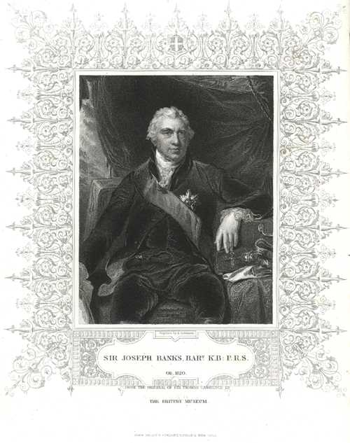 Banks portrait - Sir Joseph Banks, Tallis engraving. Robinson c1850