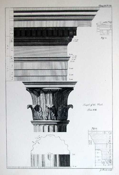 Architecture Print. Corinthian Capital. Temple of the Winds Pl.7 Reproduction.