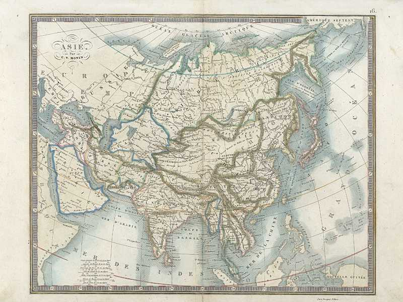 Asie. Antique Map of Asia published in France by Monin c1838