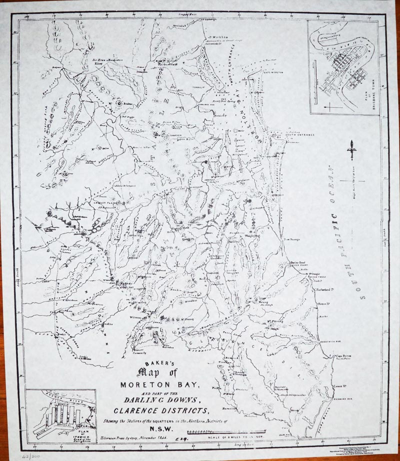 Moreton Bay, Darling Downs, Clarence District. Reproduction Baker map (1846).