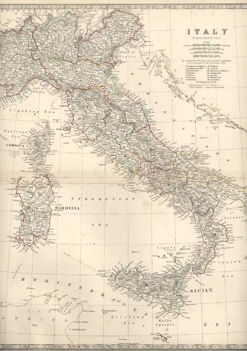 Italy Antique Map by Keith Johnston FRSE. c1861