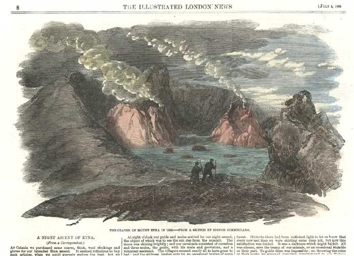 Climbing. Crater at Mount Etna in 1809. Night Ascent. Geology c1858