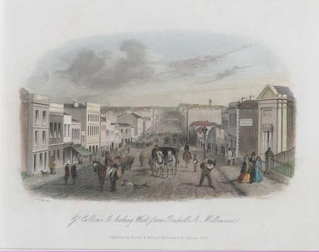 Victoria STGill Melbourne Great Collins Street, from Russell Street Antique Print c1857