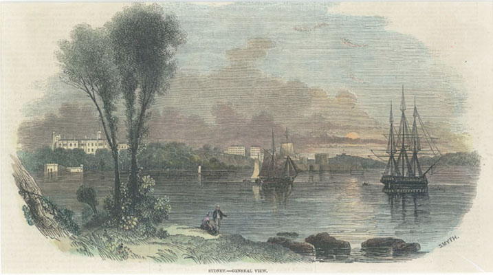 Sydney General View. Sydney Harbour with shipping. c1846