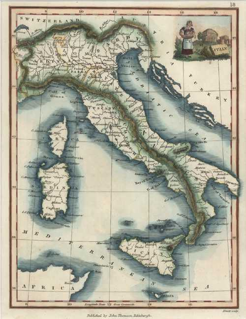 Antique Map of Italy published by John Thomson c1824