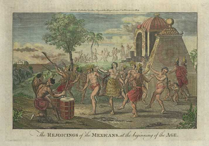 Mexico antique print. The Rejoicings of the Mexicans. Engraving c1780.