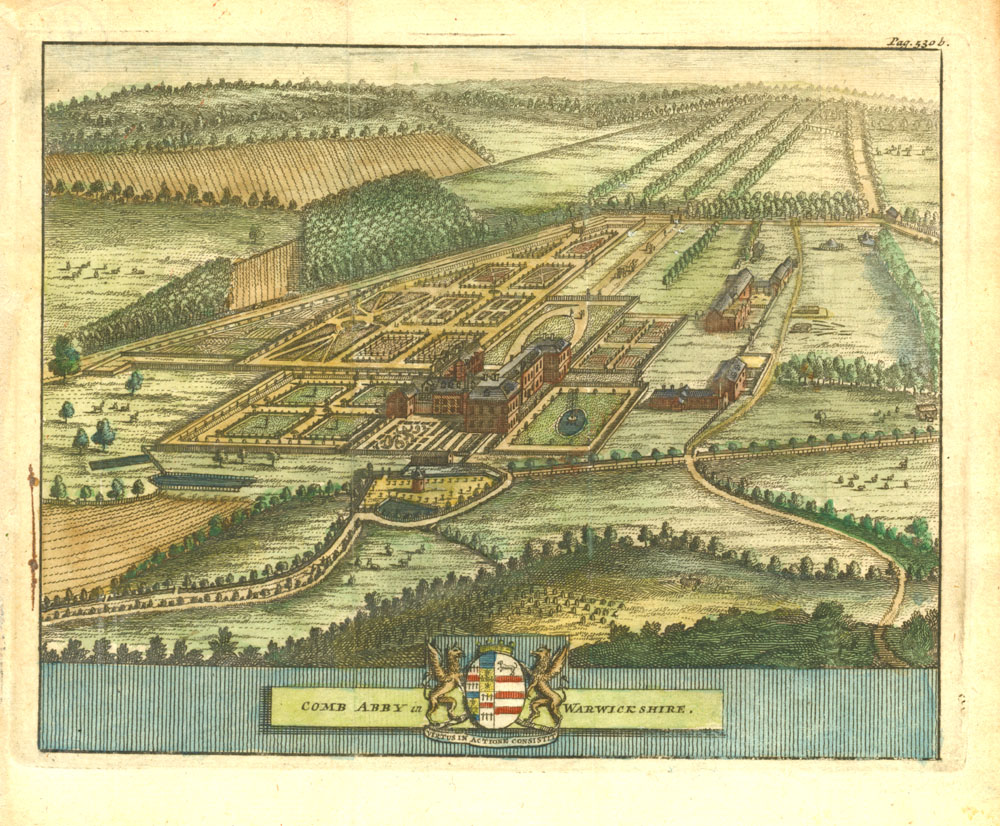 Comb Abby in Warwickshire antique print by Beeverell c1727