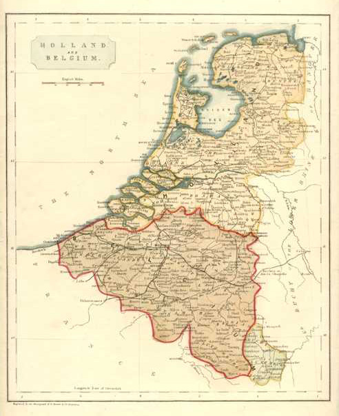 belgium holland antique map by becker c1830
