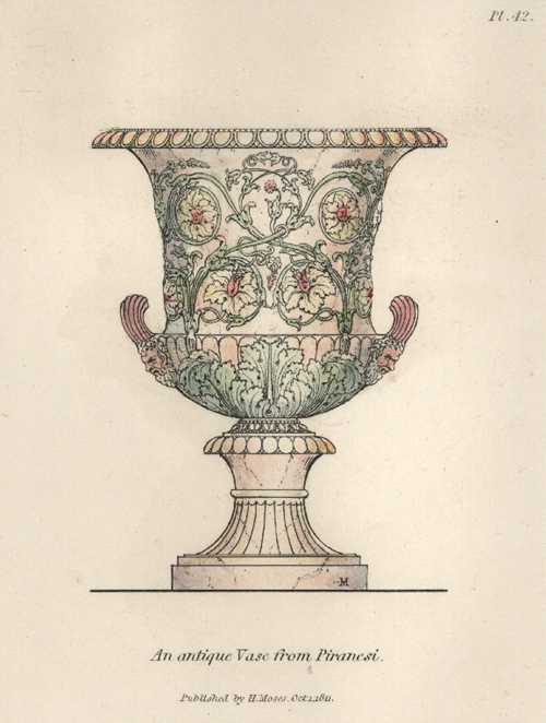 Antique Vase from Piranesi, engraved by Henry Moses c1811.
