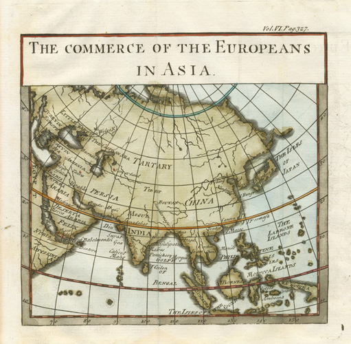 The Commerce of the Europeans in Asia, antique map. Cole c1760.
