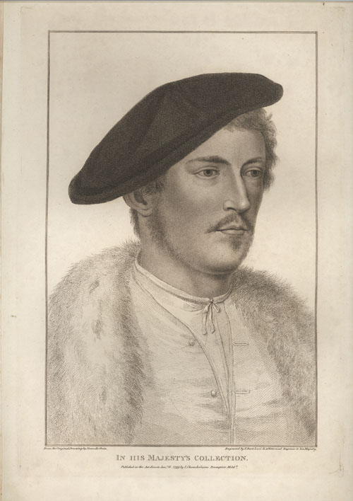 Beautiful Holbein portrait of a young man. Bartolozzi engraving c1799