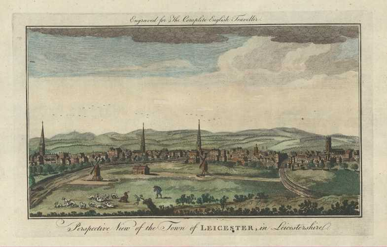 Complete English Traveller View of Leicester. Spencer engraving circa 1773