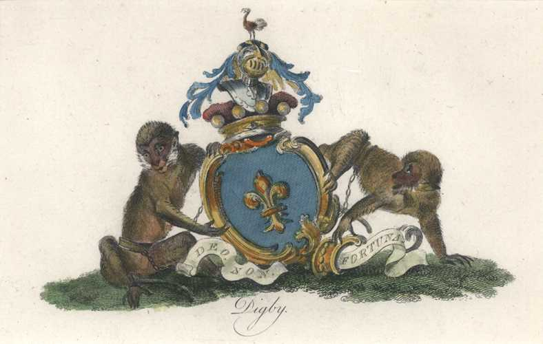 Heraldic Crest. Digby Coat of Arms with monkeys & motto. Catton c1790