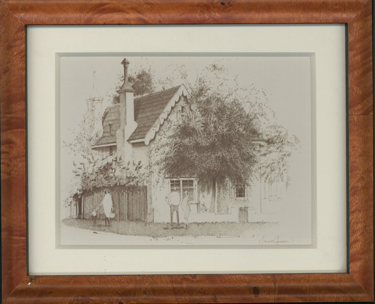 Small framed print of Anne Green architectural sketch.