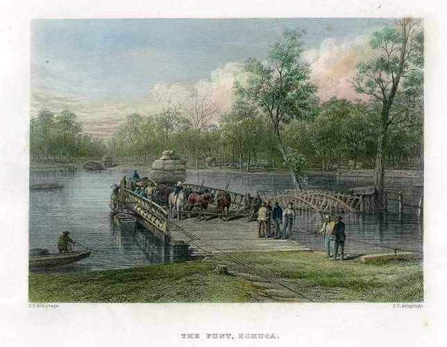 The Punt, Echuca, on the Murray River. Antique Print Australia c1874.