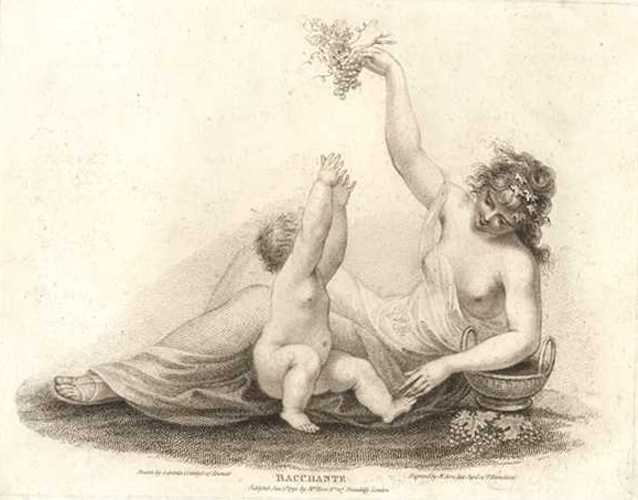 Bacchante: Bovi stipple engraving. Plate 2 of 3, c1792