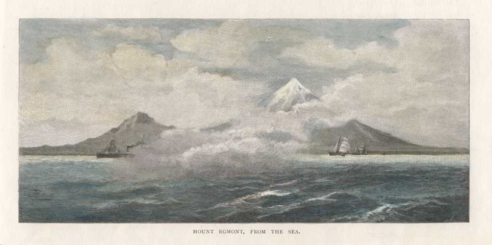 New Zealand. Mount Egmont, from the Sea. Antique Print c1888