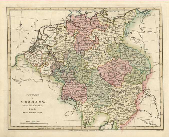 A New Map of Germany. Beautiful Antique Map by Robert Wilkinson c1794