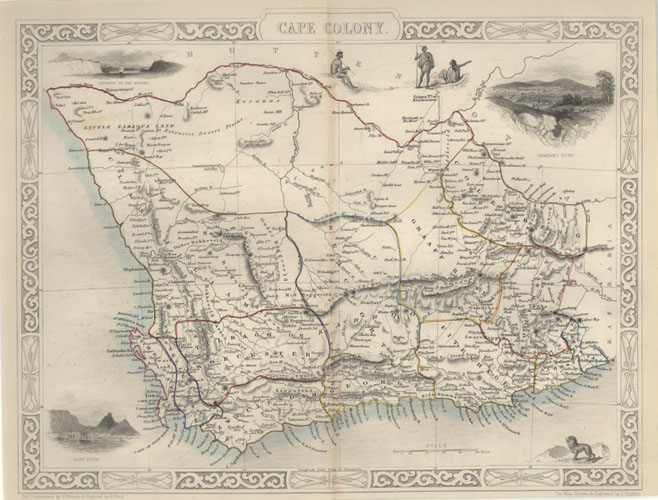 Cape Colony, South Africa. Tallis antique map c1851