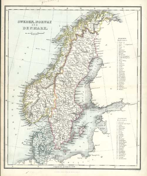 Sweden, Norway and Denmark. Alex. Findlay Antique Map. c1853