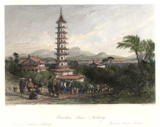 China. Porcelain Tower, Nanking. Thomas Allom's China. Engraving c1845
