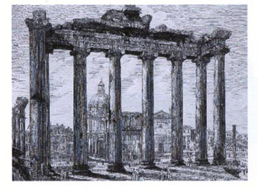 Rossini Views of Rome from c1820. Temple of Concordia print