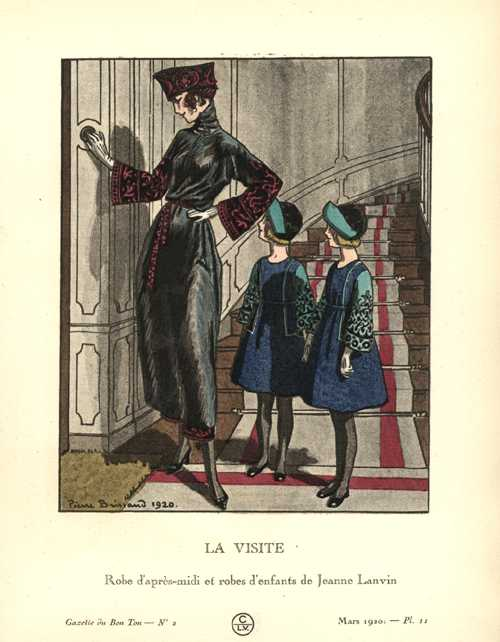 "The Visit. ""La Visite."" Gazette du Bon Ton by Brissaud c1920"