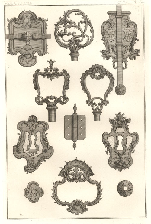 French Escutcheon Locks by Francois de Cuvilliés. Rapilly c1863