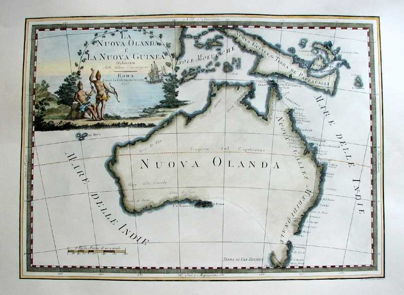 Australia map with Cook's discoveries. Nuova Olanda (New Holland) by Cassini