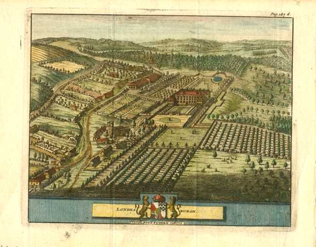 Beeverell antique print of Londesburgh English country estate c1727