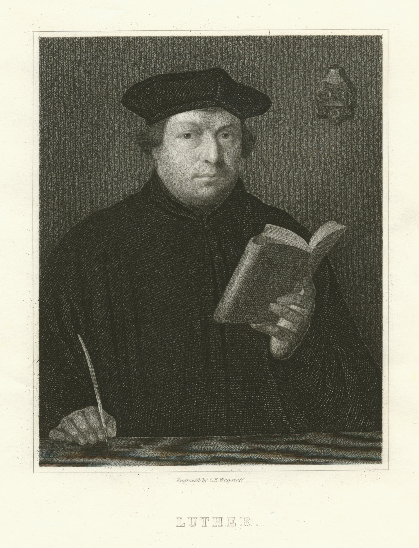 Luther. Engraved by C.E. Wagstaff after Hans Holbein. c1840.