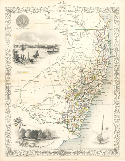 decorative tallis map of new south wales with goldfields c1853