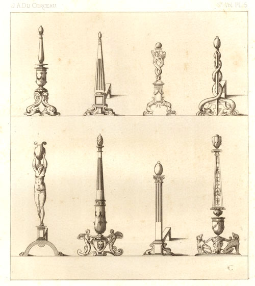 Du Cerceau designs for Fire Dogs. Rapilly c1863