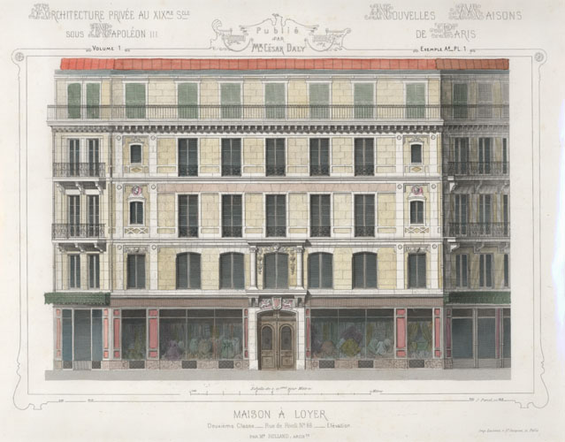 Cesar Daly. French Apartments for rent, above shops. Engraving c1864