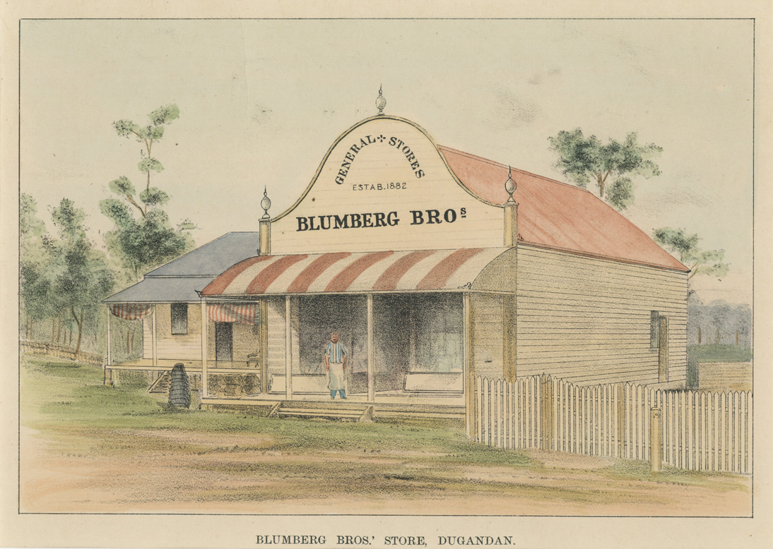Blumberg Brothers Store, 1882, Dugandan, Boonah QLD. Lithograph c1910.