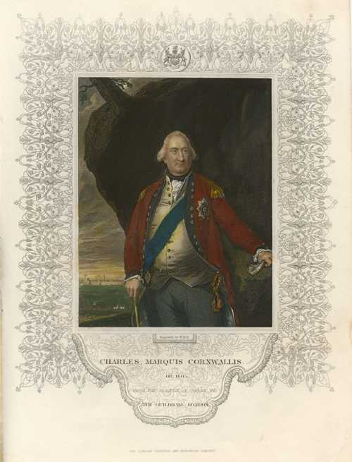 Tallis portrait. Charles, Marquis Cornwallis engraved by W. Holl. c1854