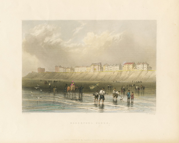 Bartlett view of Blackpool Sands, with people and horses in water. Finden c1840.