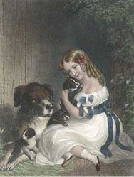 Playful Pets, girl and dog