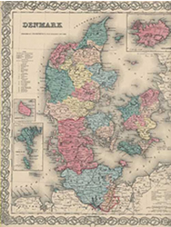 Denmark fine antique map