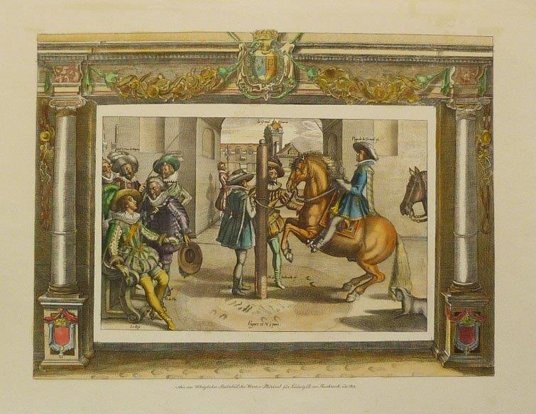 Pluvinel Horsemanship. Hand-coloured reproduction print, plate 13.
