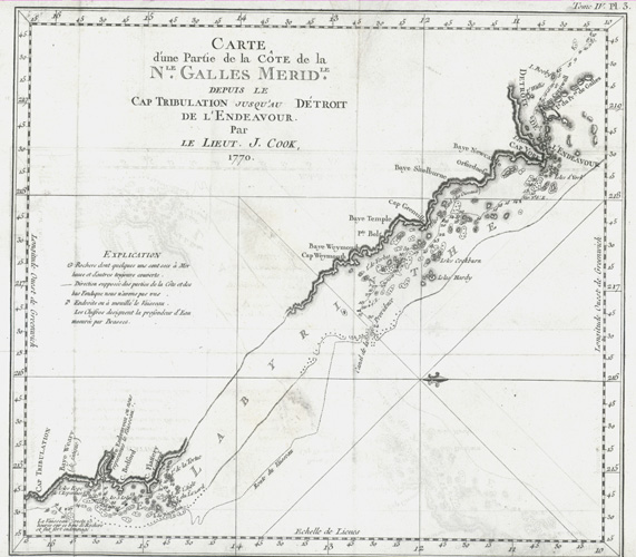 Cook's antique map, North Queensland from Cape Tribulation c1774