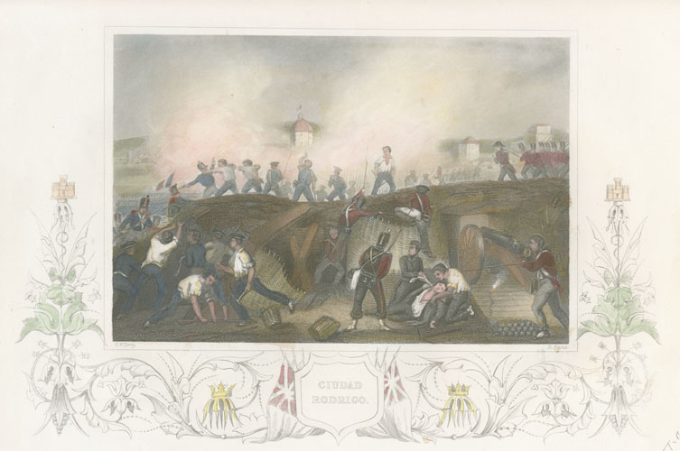 Ciudad Rodrigo Battle & Injured Soldiers. Tallis engraving c1856
