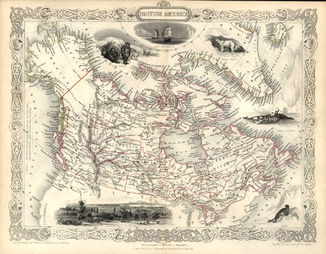 First Edition Tallis map of British America. J & F Tallis c1850.