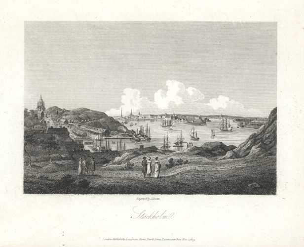 Stockholm engraved by J. Storer. Sweden Antique Print. Longmans, Hurst, Green & Orme c1809