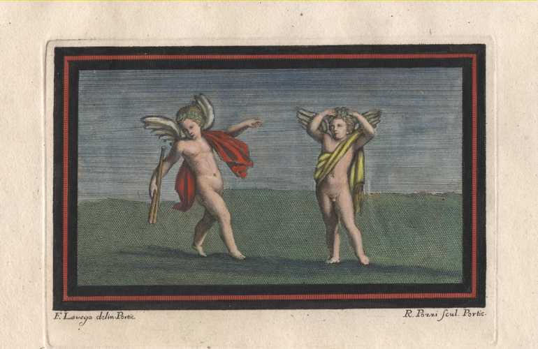 Putti at play. Charming Pompeii fresco antique print.