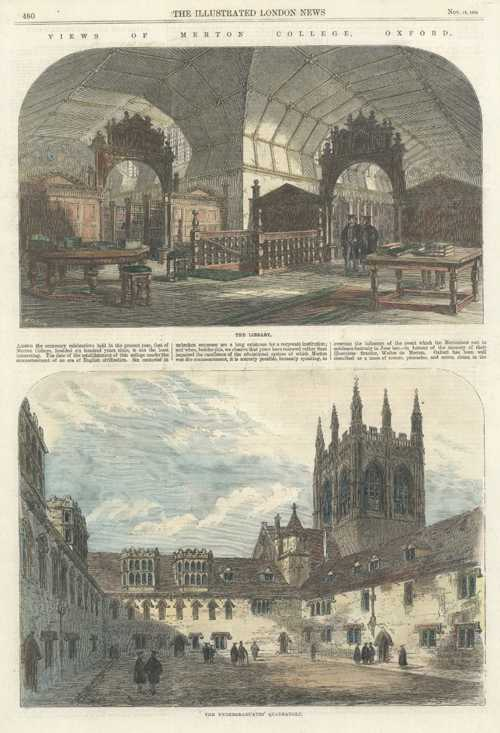 Oxford College. Views of Merton College, Oxford University engraving c1864