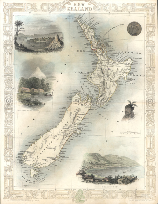 Tallis New Zealand decorative antique map - Wellington, Auckland, c1851.
