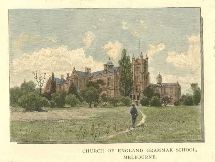 Melbourne Church of England Grammar School Melbourne Australia Antique Print c1886