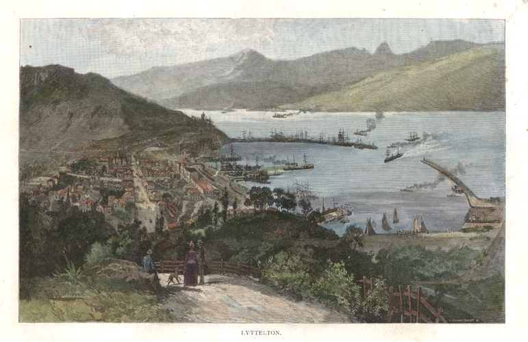 New Zealand. Lyttelton from the hill. Antique print c1888.